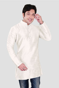 Ethniz - Men's White Cream Dupion Plain Silk Short Kurta