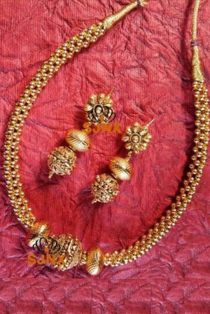 Golden Beads Necklace Set
