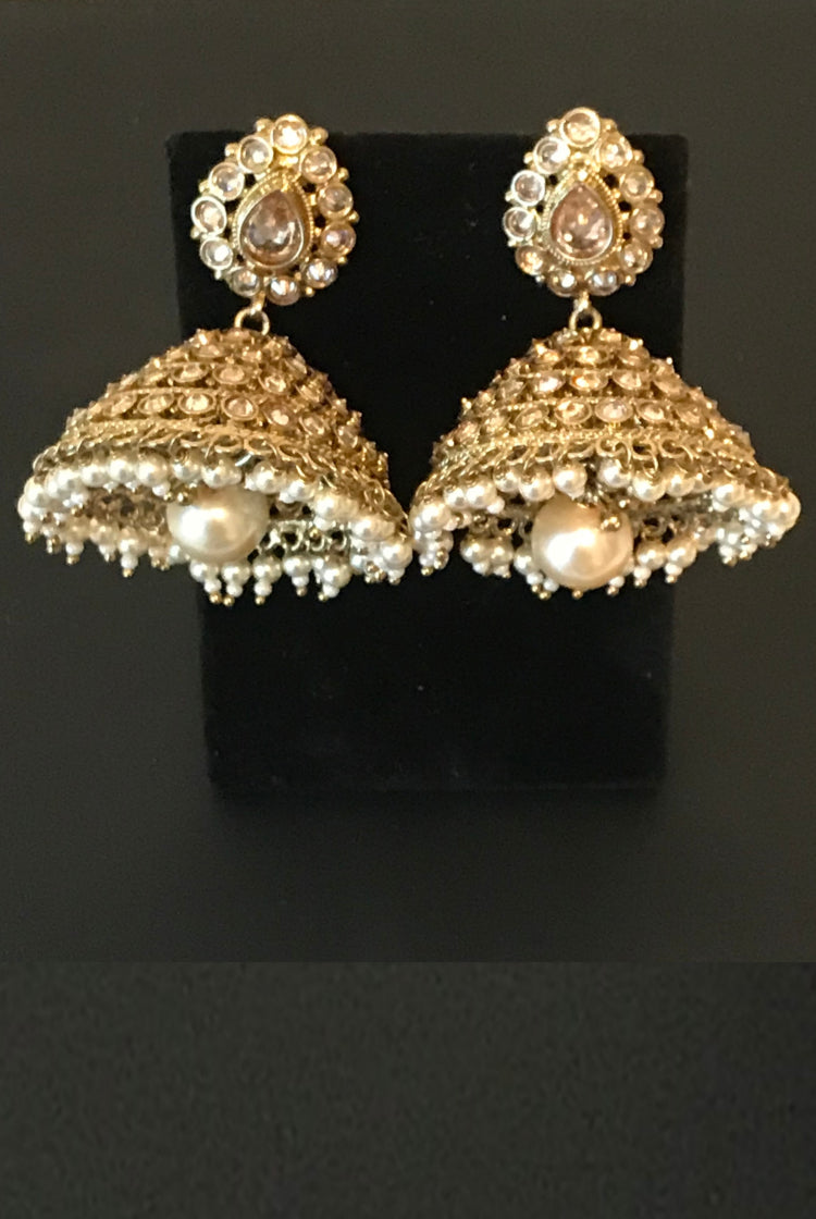 Self Stone Jhumkis with hanging pearl
