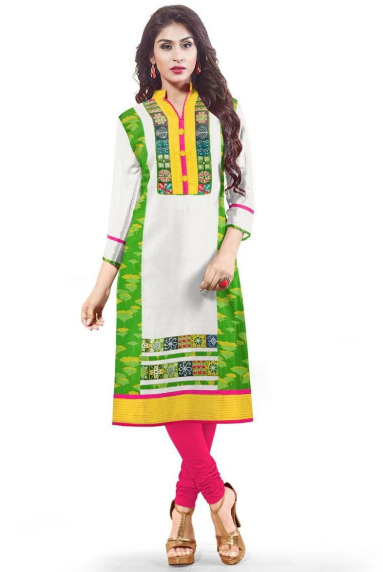 South Handloom Cotton Straight cut Kurti in White and Green