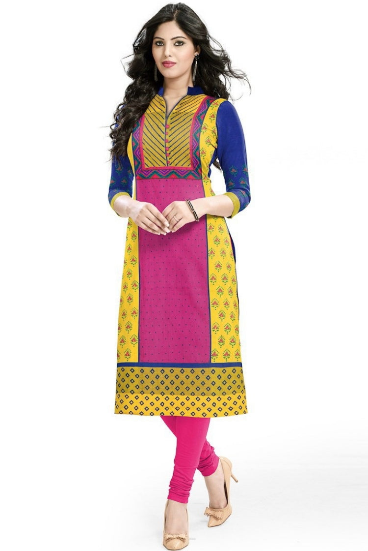 South Handloom Cotton Straight cut Kurti in Pink
