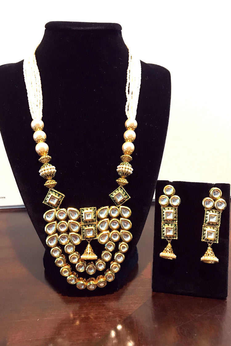 Kundan Necklace Set - Green