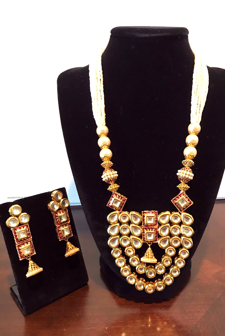 Kundan Necklace Set - Red