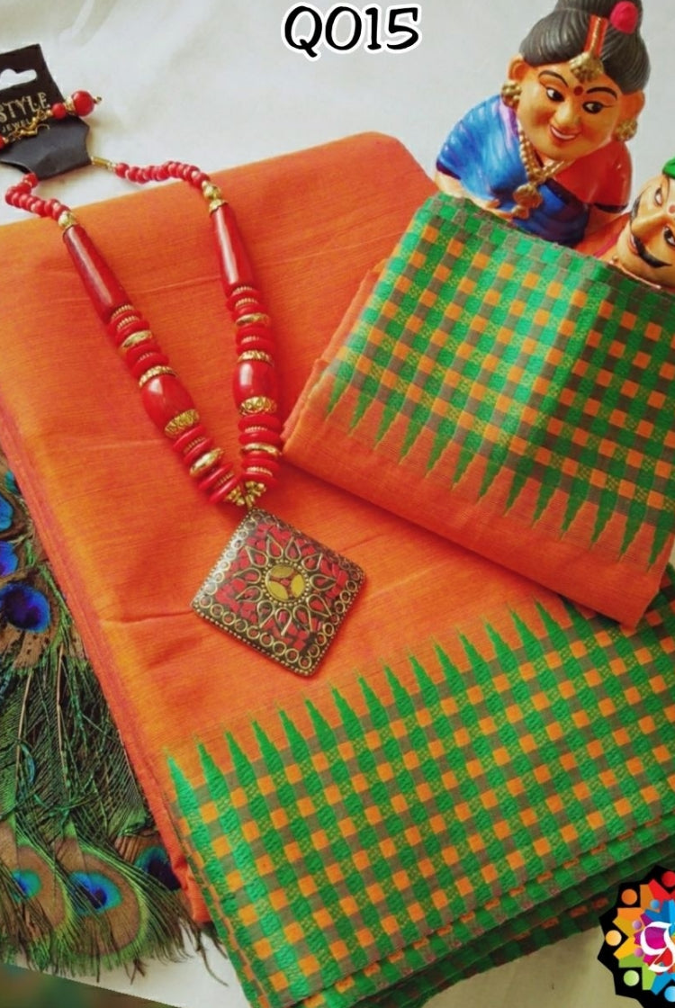 Cotton Saree - Orange
