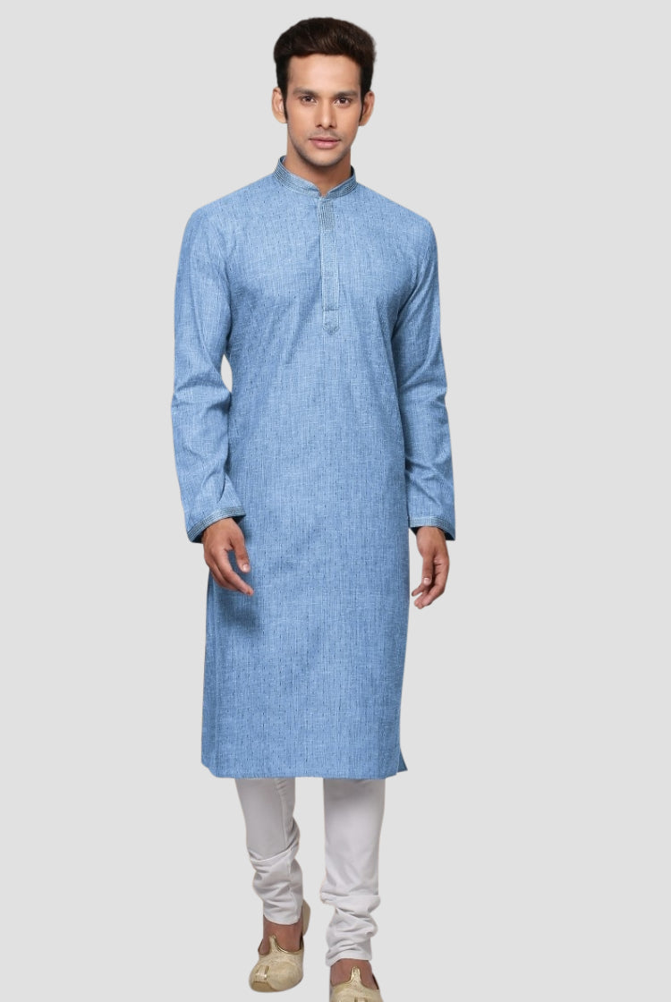 Ethniz- Men's Blue Kurta with Churidar