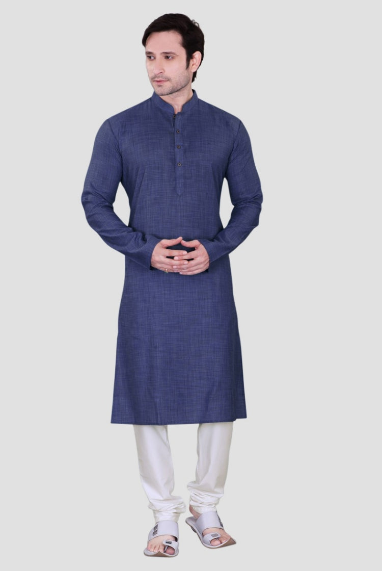Ethniz - Men's Kurta with Churidar - Royal Blue 02