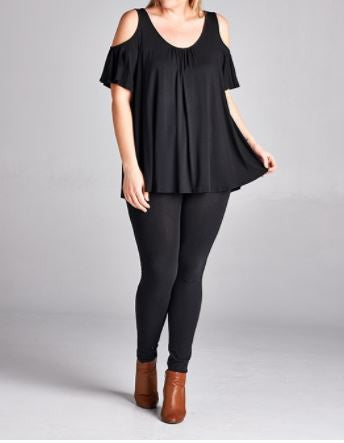 Open Shoulder Black Top