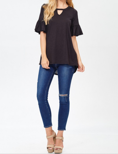 Key-Hole Neck Ruffle Sleeve Top