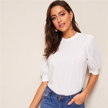 Ladies Casual Puff Sleeve Keyhole Back Solid Top - Workwear Half Sleeve Elegant Blouses