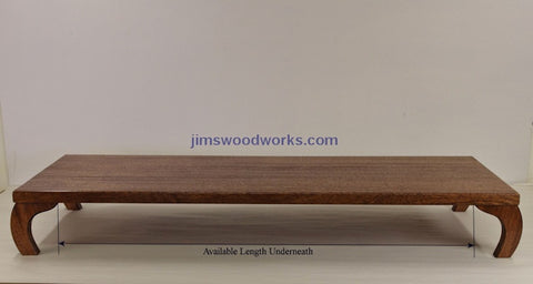 Jims Woodworks Curved Leg Style available space underneath picture
