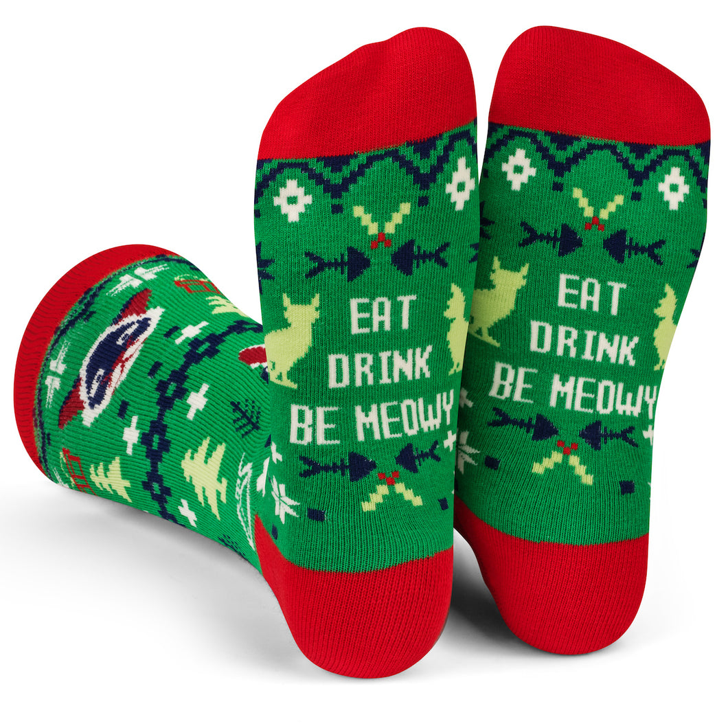 Eat, Drink, Be Meowy Socks