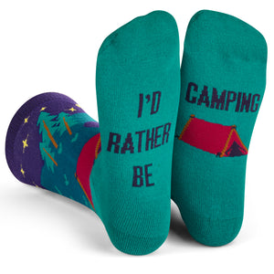I'd Rather Be Camping Socks (Purple/Teal) Crew Socks
