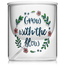 Inspirational Self-Watering Ceramic Indoor Planter Pot with Glass Vase (Large)