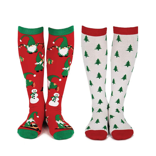 Christmas Gnomes & Trees Knee High Socks (2 Pack)
