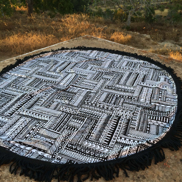 Roundie maya mandala with fringes