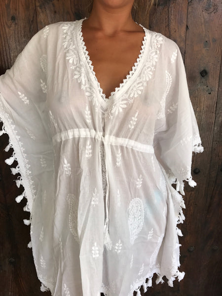 Divine white Ibiza short kaftan with hand embroidery