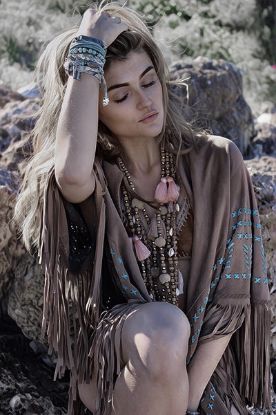 Bohemian soft suede leather hippie chic poncho from Ibiza