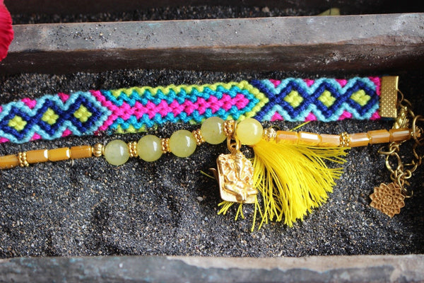 Ananda boho jewelry Ibiza gemstone friendship bracelet simple lemon - AUROBELLE IBIZA