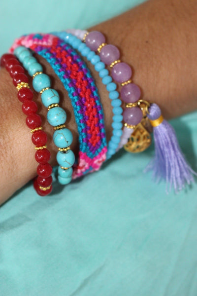 Ananda  bohemian Ibizafashion jewelry gemstone friendship bracelet purple rain -  AUROBELLE  IBIZA