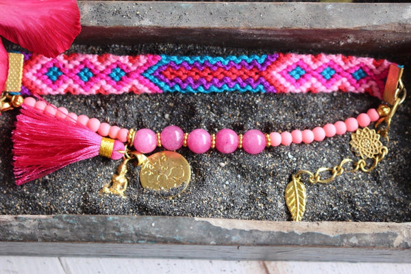 Ananda  bohemian ibiza boho girl jewelry with gemstone friendship bracelet simple pink -  AUROBELLE  IBIZA