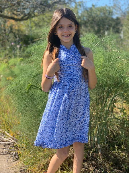 Angelina our sweetie wrap dress for our little aurobelle girls. Blue paisley -  AUROBELLE  IBIZA