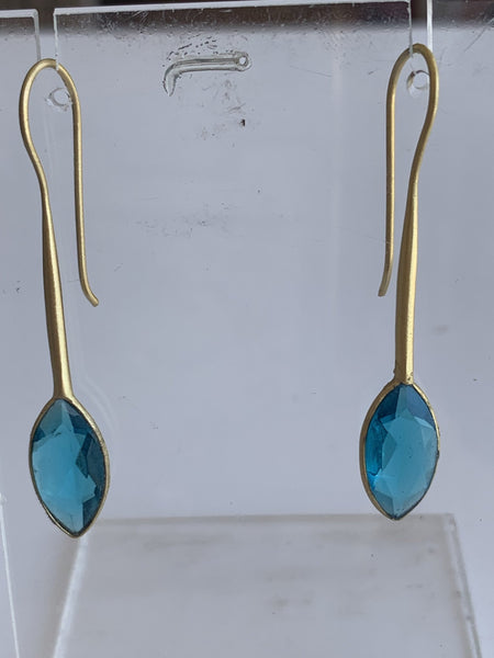 Aqua chalcedony gemstone designer earrings -  AUROBELLE  IBIZA