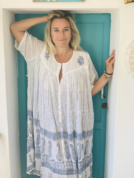 Be Marrakesh kaftan made  with Mughal blockprint -  AUROBELLE  IBIZA
