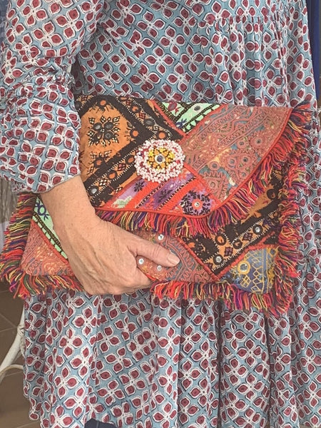 Big boho  banjara antique textiles and old coins -  AUROBELLE  IBIZA