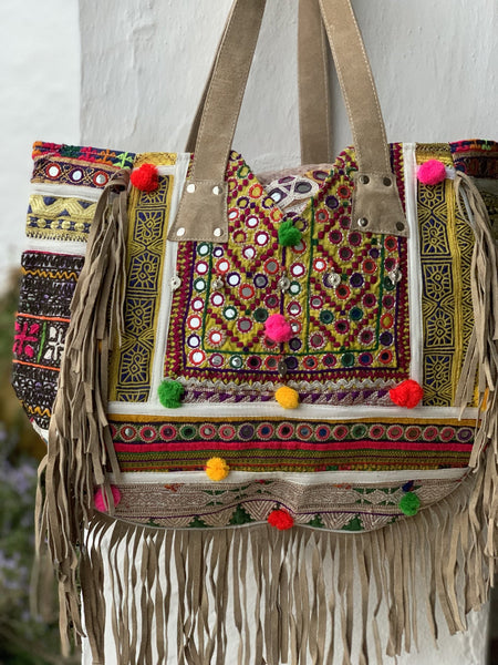 Big suede leather Boho  banjara bag -  AUROBELLE  IBIZA