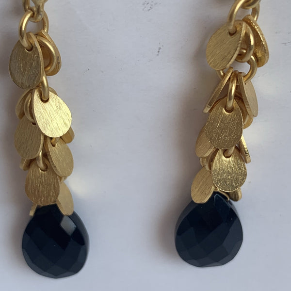 Black  onyx  stone gemstone designer earrings -  AUROBELLE  IBIZA