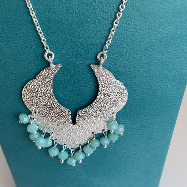 Blue chalcedony gemstone designer necklace -  AUROBELLE  IBIZA