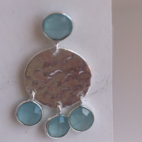 Blue chalcedony stone gemstone designer earrings -  AUROBELLE  IBIZA