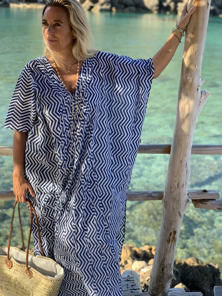 BODRUM KAFTAN in blue stribes -  AUROBELLE  IBIZA
