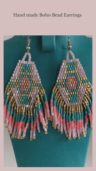 Boho beads fringe earrings -  AUROBELLE  IBIZA