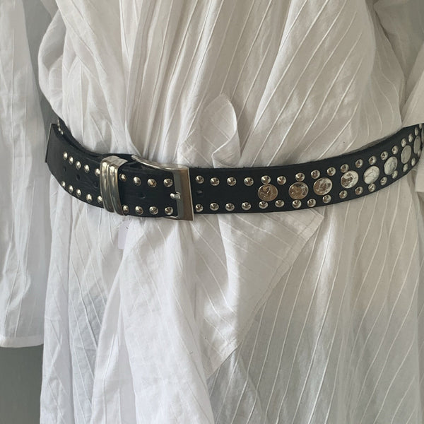Boho chic leather belt big size  black -  AUROBELLE  IBIZA