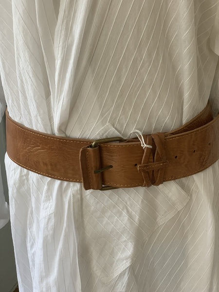 Boho chic leather belt big size  light brown -  AUROBELLE  IBIZA