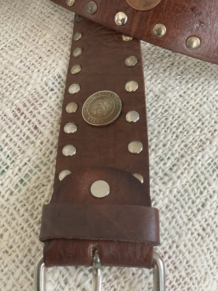 Boho  chic leather belt big size  light Brown with coins -  AUROBELLE  IBIZA