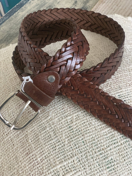 Boho  chic leather belt big size  light Brown woven -  AUROBELLE  IBIZA