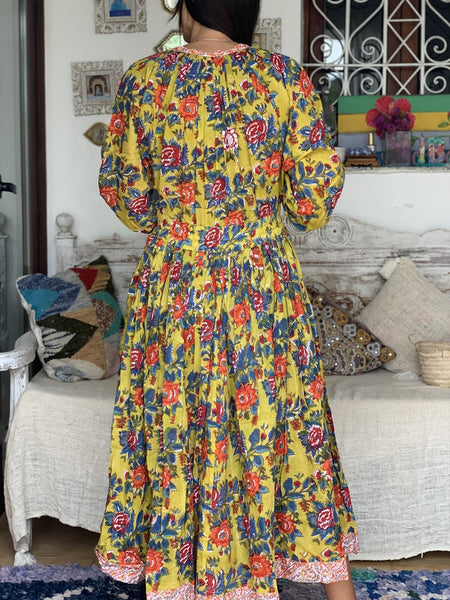 Boho Vintage dress in happy yellow -  AUROBELLE  IBIZA