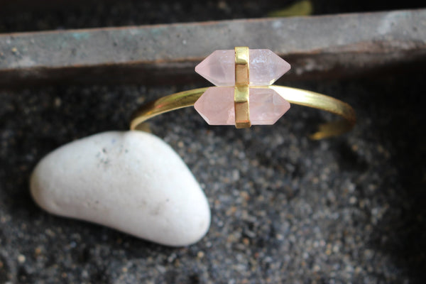 Bracelet with rose quartz -  AUROBELLE  IBIZA