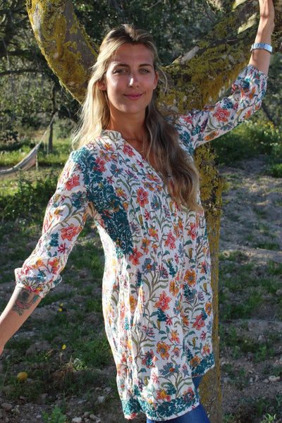 Brazilian blouse with hand embroidery -  AUROBELLE  IBIZA