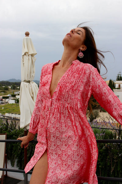 Brazilian Silk tunica in strawberry red -  AUROBELLE  IBIZA
