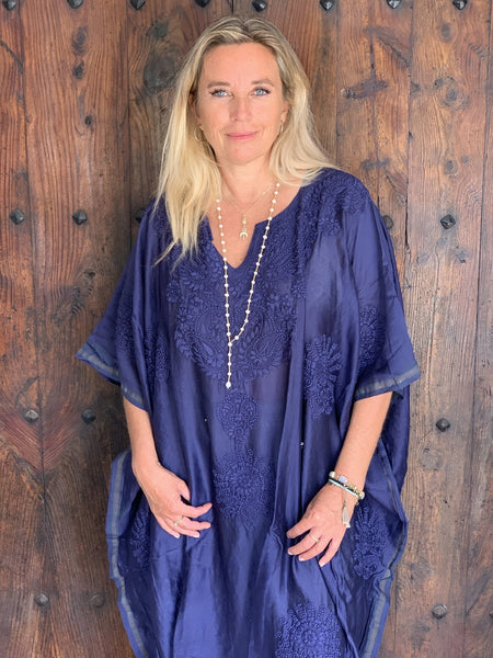 Chanderi silk kaftan   Colour blue with hand embroidery plus-size -  AUROBELLE  IBIZA