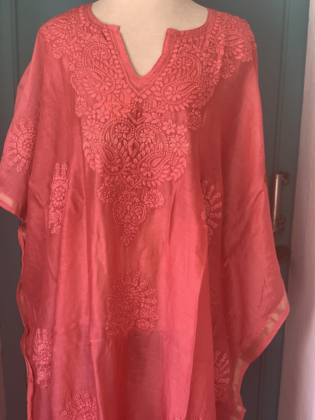 Chanderi silk kaftan with hand embroidery -  AUROBELLE  IBIZA