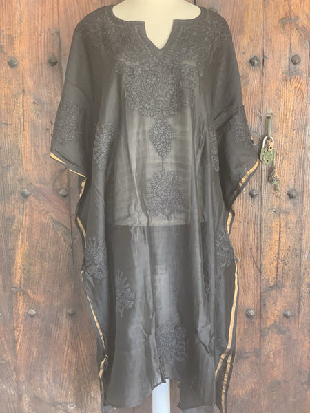 Chanderi silk kaftan with hand embroidery black and gold -  AUROBELLE  IBIZA