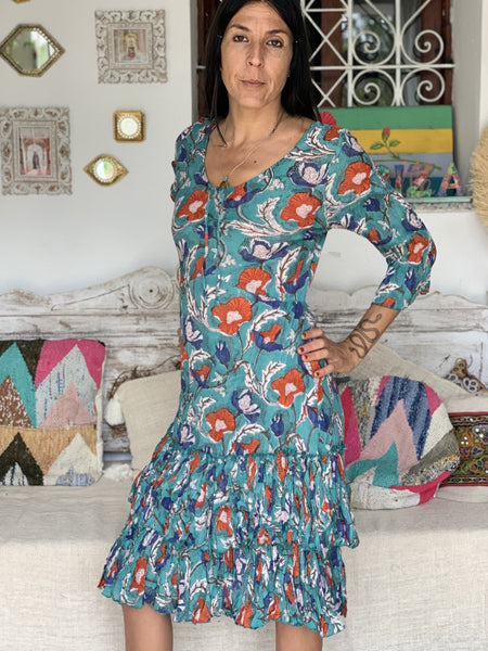 Chuchi dress beautiful emerald flower print -  AUROBELLE  IBIZA
