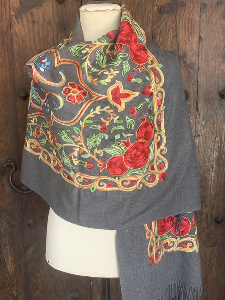 Cosy cashmere wool shawl with handmade embroidery -  AUROBELLE  IBIZA