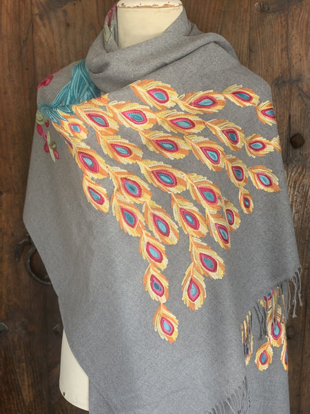 Cosy cashmere wool shawl with handmade embroidery peakok beautiful -  AUROBELLE  IBIZA