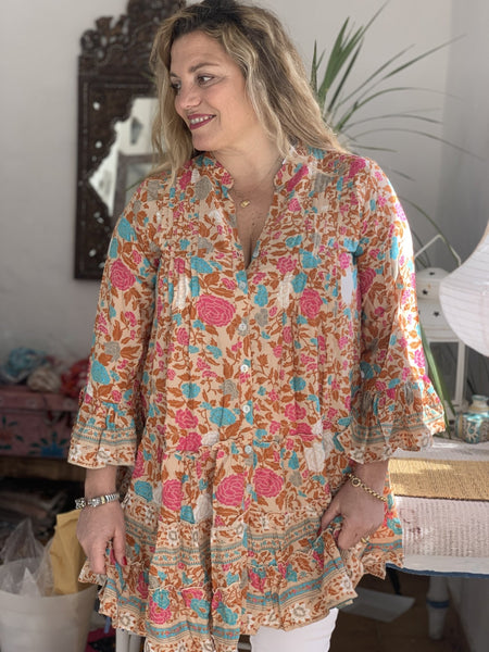 Dora dress , Marigold boho tunica , plus-size blouse - AUROBELLE IBIZA