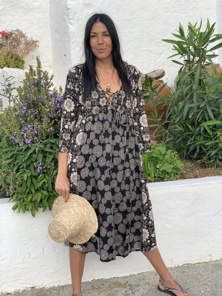 Dori dress in a black combination block print -  AUROBELLE  IBIZA